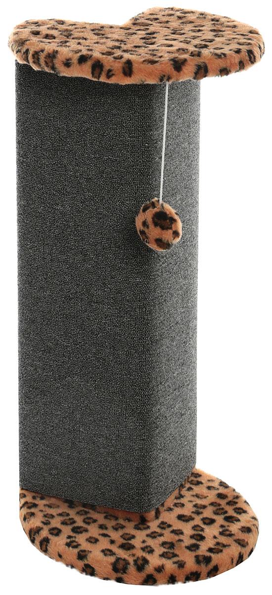 Когтеточка  Меридиан , угловая, с игрушкой, цвет: леопардовый, 34 х 34 х 74 см - Когтеточки и игровые комплексы
