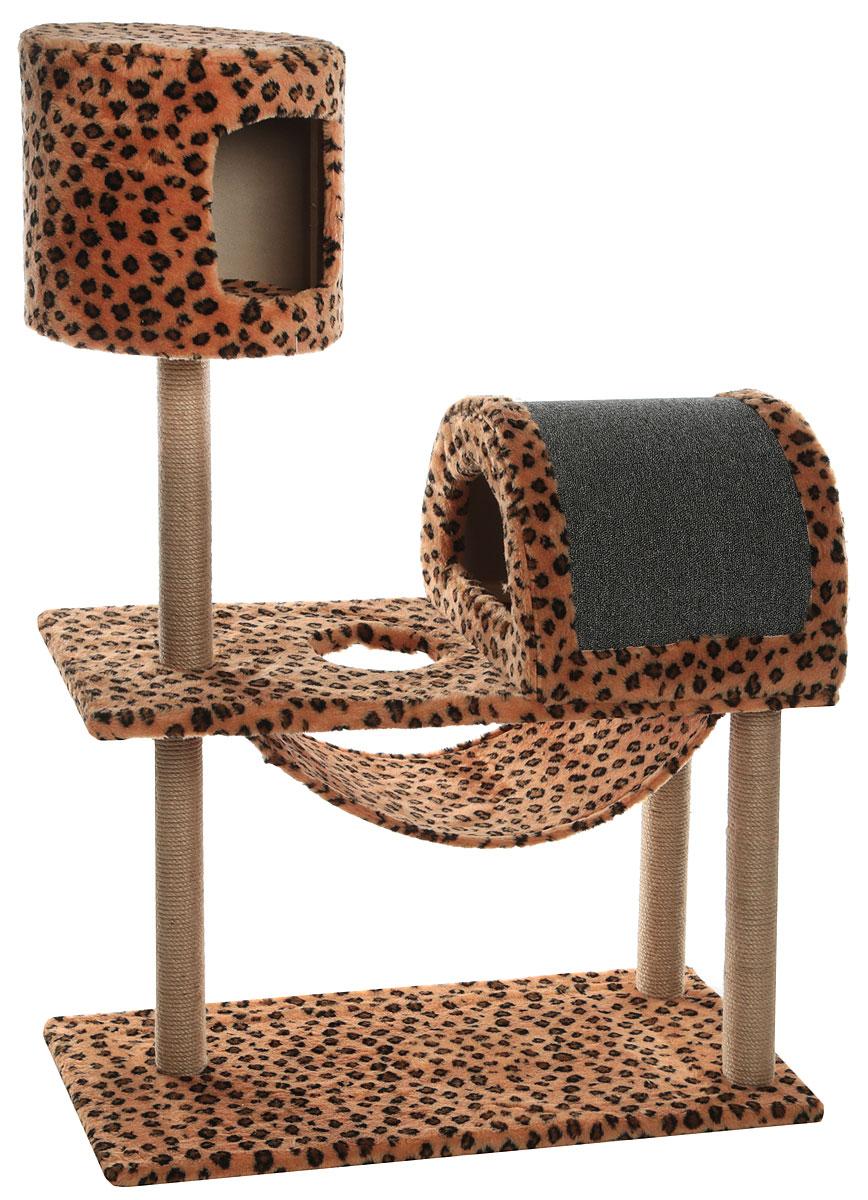 Комплекс игровой для кошек Меридиан, с когтеточкой, с домиком и гамаком, цвет: леопардовый, 90 х 42 х 125 смД541ЛеИгровой комплекс для кошек Меридиан выполнен из высококачественного ДВП и ДСП и обтянут искусственным мехом. Изделие предназначено для кошек. Ваш домашний питомец будет с удовольствием точить когти о специальный столбик, изготовленный из джута. А отдохнуть он сможет либо в домиках на разной высоте, либо в расположенном внизу гамаке.Общая высота: 1,25 см.Основание: длина - 90 см. ширина - 42 см.Домик: диаметр: 34 см. высота: 31 см.