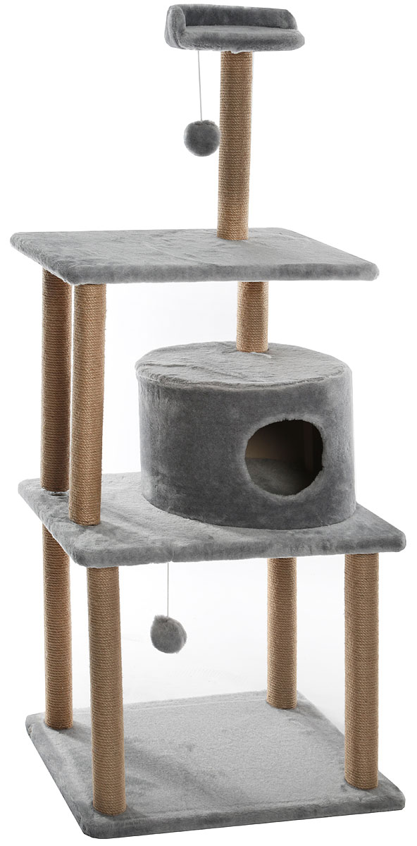 Домик-когтеточка  Меридиан , круглый, с двумя игрушками, цвет: светло-серый, 65 х 50 х 153 см - Когтеточки и игровые комплексы