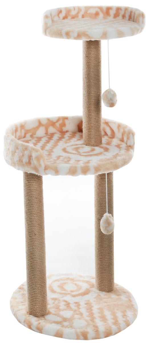 Когтеточка  Меридиан , с игрушкой и площадкой, цвет: белый, оранжевый, 43 х 43 х 100 см - Когтеточки и игровые комплексы