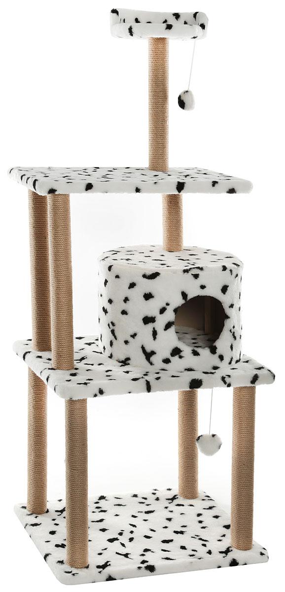 Домик-когтеточка Меридиан, круглый, с двумя игрушками, цвет: белый, черный, 65 х 50 х 153 смД540ДДомик-когтеточка Меридиан выполнен из высококачественного ДВП и ДСП и обтянут искусственным мехом. Изделие предназначено для кошек. Ваш домашний питомец будет с удовольствием точить когти о специальный столбик, изготовленный из джута. А отдохнуть он сможет либо на полках разной высоты, либо в расположенном на самом верху лежаке, либо в домике, или поиграть в игрушки.Общий размер: 65 х 50 х 153 см. Основание: длина - 65 см. ширина - 50 см.Домик: диаметр - 40,5 см. высота - 28,5 см.