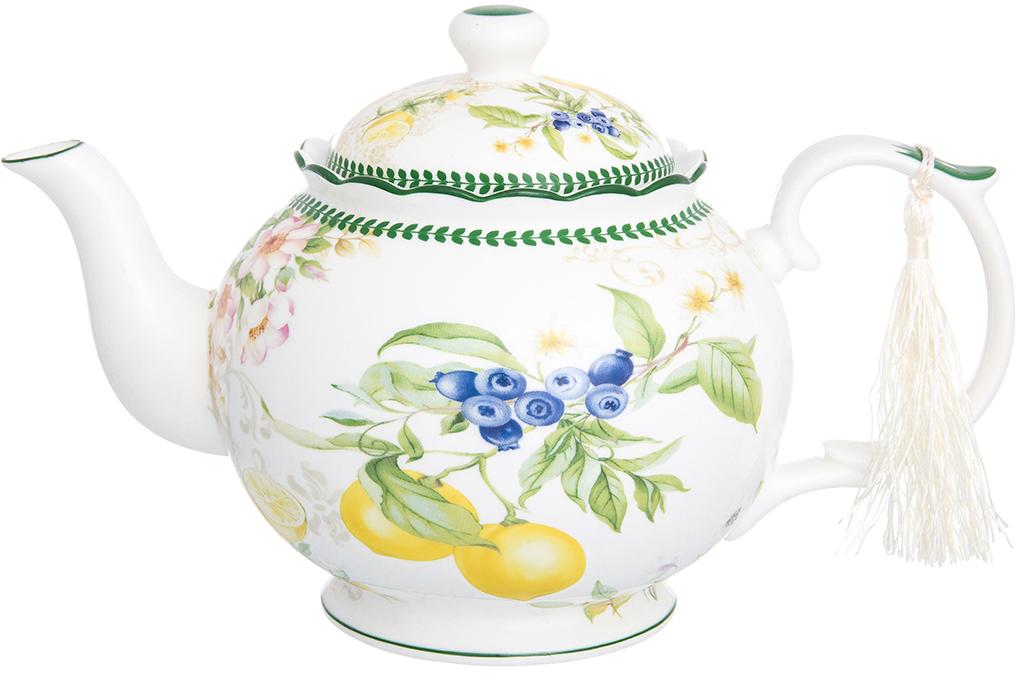 Чайник из серии «Лимоны» объемом 1.1 л выполнен из высококачественного  костяного фарфора нового поколения, благодаря современным технологиям  фарфор New Bone China не уступает традиционному костяному фарфору в  прозрачности, белизне и прочности, но при этом гораздо экологичнее в  производстве. Настоящий заварочный чайник, прекрасная альтернатива  пакетированному чаю, собирает за чаепитием всю семью. Чай из чайника  ароматный, а благодаря удобному носику и плотно прилегающей крышке, не  проливается и его удобно мыть. Чайник вместительный, изящной формы, с  удобной ручкой и ярким рисунком с особенным летним настроением —  жизнерадостные лимоны с ярким акцентом и нежными цветами наполнят ваши  дни солнцем и яркими красками. Чайник упакован в прочную подарочную упаковку  и послужит желанным подарком любой хозяйке, так как украсит любой интерьер. В  серии «Лимоны» также представлены другие товары для сервировки стола —  кружки, чайные пары, заварочные кружки, тарелки и многое другое. Собирая  серию можно наполнить ваш дом прекрасной качественной посудой, создающей  удивительное солнечное настроение.