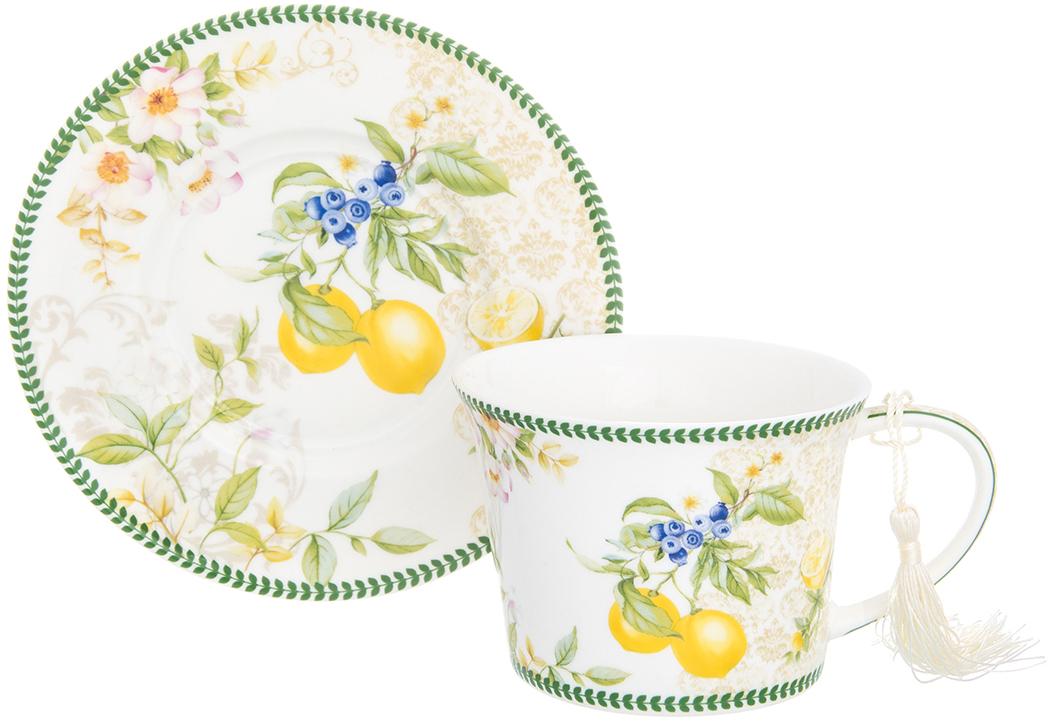 Чайная пара Elan Gallery Лимоны, 270 мл, 2 предмета420154Шикарная чайная пара на 1 персону - это отличный подарок, подходящий для любого повода. В комплекте 1 чашка и 1блюдце. Изделие имеет подарочную упаковку, поэтому станет желанным подарком для Ваших близких! Чайная пара Лимоны 2 предмета, чашка - 12,5*9,5*7 см. 270 мл., блюдце - 15*15*2 см., в п/у, NEW BONE CHINA