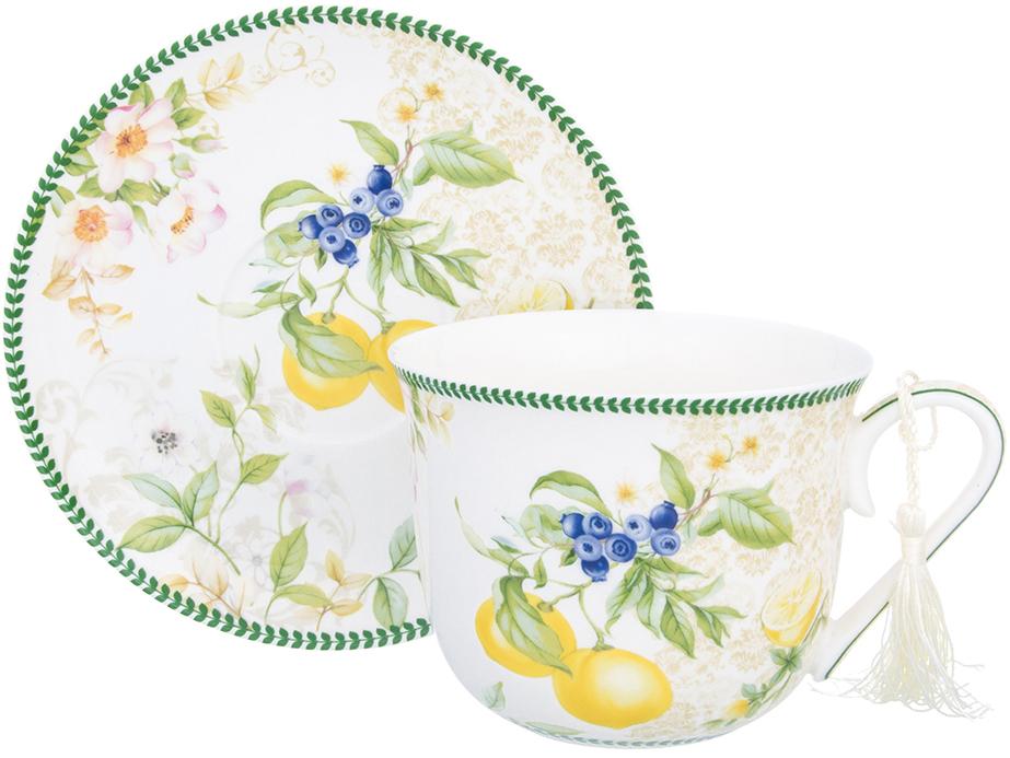 Чайная пара Elan Gallery Лимоны, 500 мл, 2 предмета420157Шикарная чайная пара на 1 персону - это отличный подарок, подходящий для любого повода. В комплекте 1 чашка и 1блюдце. Изделие имеет подарочную упаковку, поэтому станет желанным подарком для Ваших близких! Чайная пара Лимоны 2 предмета, чашка - 14*11*8,5 см. 500 мл., блюдце - 16,4*16,4*2 см., в п/у, NEW BONE CHINA