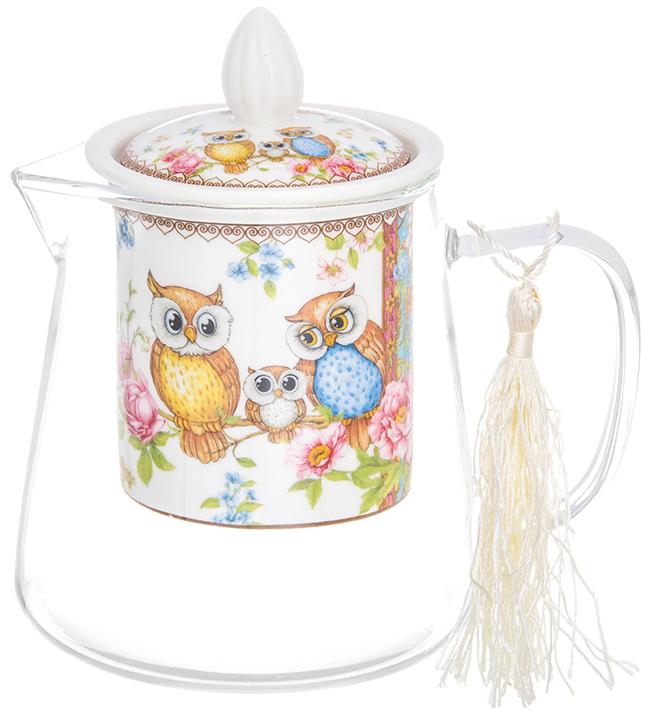 Чайник заварочный Elan Gallery Совушки, 500 мл420167Необычный заварочный чайник Совушки с фарфоровым ситом и крышкой. Корпус чайника сделан из стекла, сито и крышка - из фарфора с оригинальным дизайном. Посуда из коллекции Совушки станет лучшим подарком для Ваших друзей и коллег. Добавьте в Ваше чаепитие загадочности и волшебства, собрав всю коллекцию! Чайник стеклянный с фарфоровым ситом Совушки 13*9,5*13,5 см. 500 мл., NEW BONE CHINA