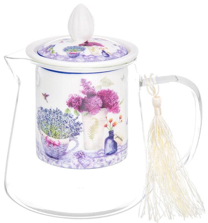 Чайник заварочный Elan Gallery Лаванда, 500 мл420168Необычный заварочный чайник Лаванда с фарфоровым ситом и крышкой. Корпус чайника сделан из стекла, сито и крышка - из фарфора с оригинальным дизайном. Посуда из коллекции Лаванда станет лучшим подарком для Ваших друзей и коллег. Добавьте в Ваше чаепитие загадочности и волшебства, собрав всю коллекцию! Чайник стеклянный с фарфоровым ситом Лаванда 13*9,5*13,5 см. 500 мл., NEW BONE CHINA