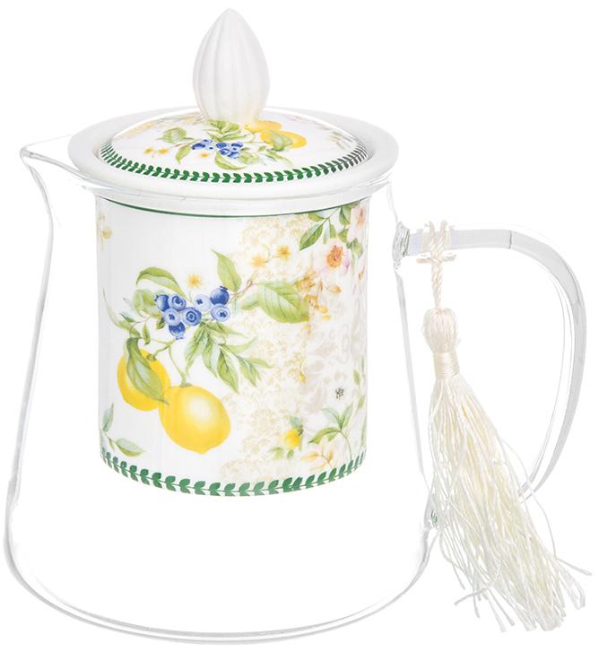 Чайник заварочный Elan Gallery Лимоны, 500 мл420169Необычный заварочный чайник Лимоны с фарфоровым ситом и крышкой. Корпус чайника сделан из стекла, сито и крышка - из фарфора с оригинальным дизайном. Посуда из коллекции Лимоны станет лучшим подарком для Ваших друзей и коллег. Добавьте в Ваше чаепитие загадочности и волшебства, собрав всю коллекцию! Чайник стеклянный с фарфоровым ситом Лимоны 13*9,5*13,5 см. 500 мл., NEW BONE CHINA