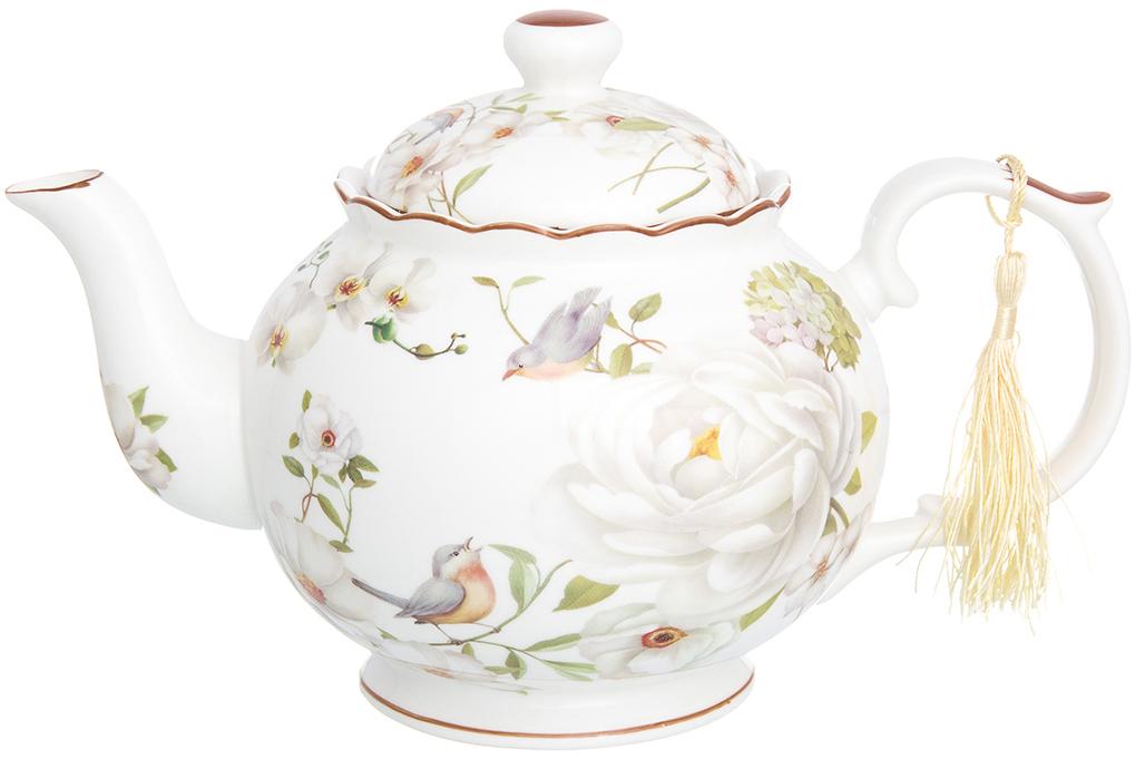 Чайник заварочный Elan Gallery Дикая роза, 1,1 л420190Фарфоровый чайник из коллекции Дикая роза идеально подходит для больших чаепитий. Объем чайника 1100 мл. Оригинальный дизайн и оформление подарит Вам и Вашим гостям отличное настроение.Чайник Дикая роза 24*14*15 см. 1,1 л., в п/у, NEW BONE CHINA