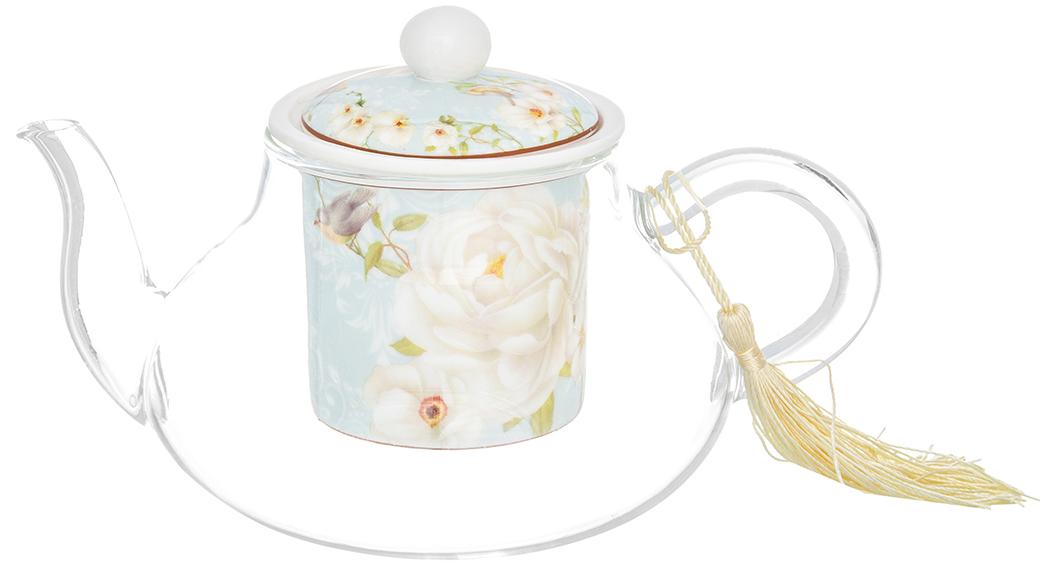 Чайник заварочный Elan Gallery Дикая роза, с ситом, 600 мл чайники заварочные elan gallery чайник дикая роза