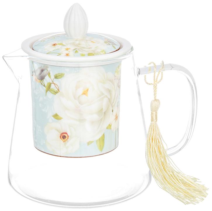 Чайник заварочный Elan Gallery Дикая роза, с ситом, 500 мл420197Необычный заварочный чайник Дикая роза с фарфоровым ситом и крышкой. Корпус чайника сделан из стекла, сито и крышка - из фарфора с оригинальным дизайном. Посуда из коллекции Дикая роза станет лучшим подарком для Ваших друзей и коллег. Добавьте в Ваше чаепитие загадочности и волшебства, собрав всю коллекцию! Чайник стеклянный с фарфоровым ситом Дикая роза 13*9,5*13,5 см. 500 мл., NEW BONE CHINA