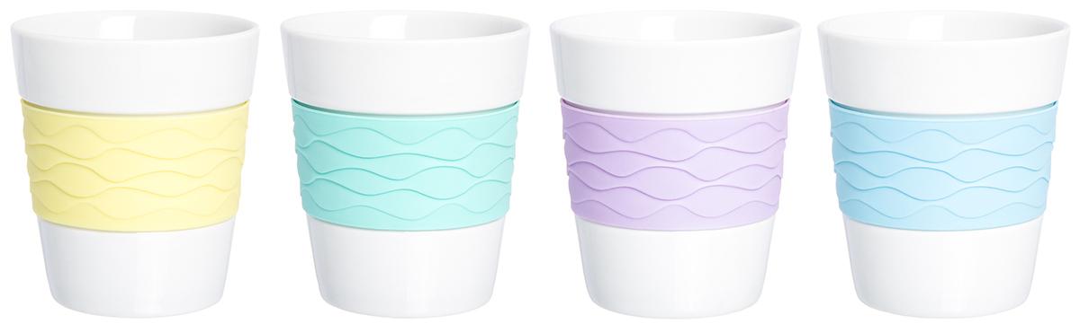 Набор стаканов Elan Gallery Радуга, 290 мл, 4 шт. 900001900001В набор входит 4 стакана для кофе и чая из фарфора. Благодаря специальной вставке из силикона, они не скользят в руках и не обжигают пальцы. В таких стаканах можно готовить не только горячие, но и прохладительные напитки. Объем 290 мл.