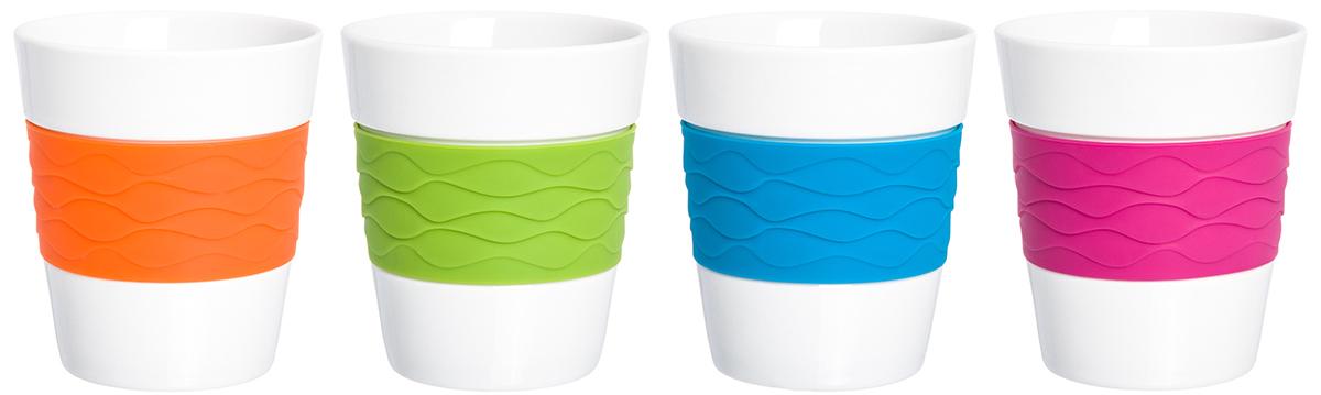 Набор стаканов Elan Gallery Радуга, 290 мл, 4 шт. 900002900002В набор входит 4 стакана для кофе и чая из фарфора. Благодаря специальной вставке из силикона, они не скользят в руках и не обжигают пальцы. В таких стаканах можно готовить не только горячие, но и прохладительные напитки. Объем 290 мл.
