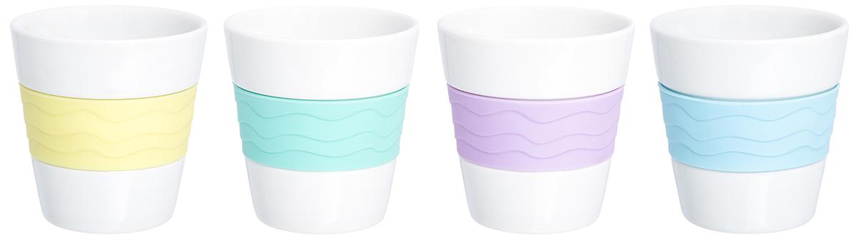 Набор стаканов Elan Gallery Радуга, 160 мл, 4 шт. 900003900003В набор входит 4 стакана для кофе и чая из фарфора. Благодаря специальной вставке из силикона, они не скользят в руках и не обжигают пальцы. В таких стаканах можно готовить не только горячие, но и прохладительные напитки. Объем 160 мл.