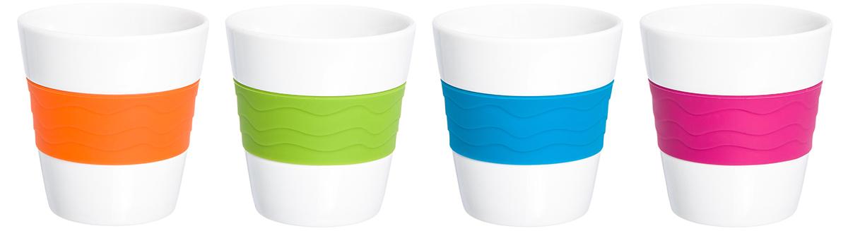 В набор входит 4 стакана для кофе и чая из фарфора. Благодаря специальной вставке из силикона, они не скользят в руках и не обжигают пальцы. В таких стаканах можно готовить не только горячие, но и прохладительные напитки. Объем 290 мл.