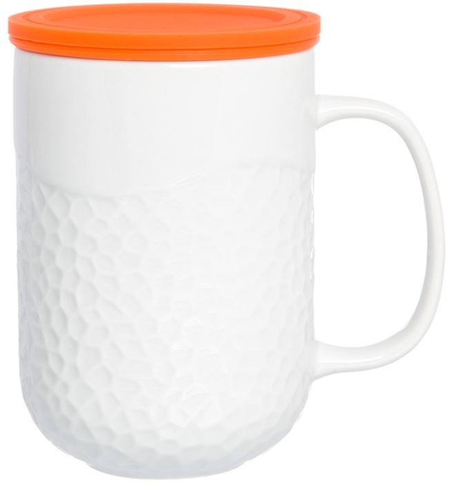 Кружка Elan Gallery, с силиконовой крышкой, с ситом, цвет: белый, оранжевый, 400 мл900013Кружка с силиконовой крышкой понравится не только детям, но и любителям долгих и душевных чаепитий в компании. Объем 400 мл. Силиконовая крышка замедлит остывание напитка. Изделие имеет подарочную упаковку, поэтому станет желанным подарком для Ваших близких!