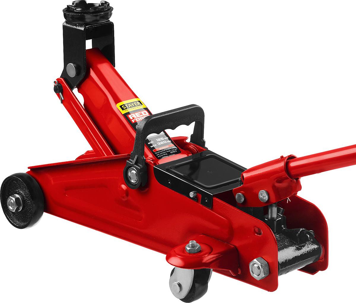 Домкрат Stayer Red Force, гидравлический подкатной, 2 т, высота подъема 12,5-32 см домкрат stayer red force гидравлический бутылочный 25 т высота подъема 24 37 5 см