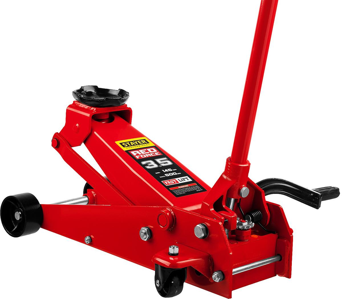 Домкрат Stayer Red Force, гидравлический подкатной, с педалью, 3,5 т, высота подъема 14,5-50 см43155-3.5Домкрат гидравлический подкатной Stayer 43155-3.5, предназначен для использования на станции СТО, с педалью для быстрого подъема груза обеспечивает надежность и высокую скорость работ. Благодаря своим габаритам домкрат устойчиво стоит на поверхности. Широкий рабочий диапазон высот. Быстрый подъем груза с использованием педали.