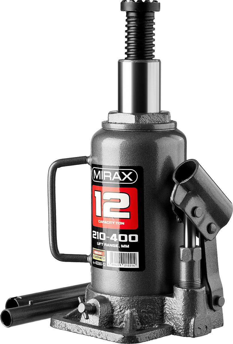 Домкрат Mirax, гидравлический бутылочный, 12 т, высота подъема 21-40 см43260-12Домкрат гидравлический бутылочный Mirax 43260-12, используется при проведении ремонтно-строительных работ. Часто используется для обслуживания автомобилей или при работах связанных с ремонтом фундаментов. Компактный. Высокая грузоподъемность.