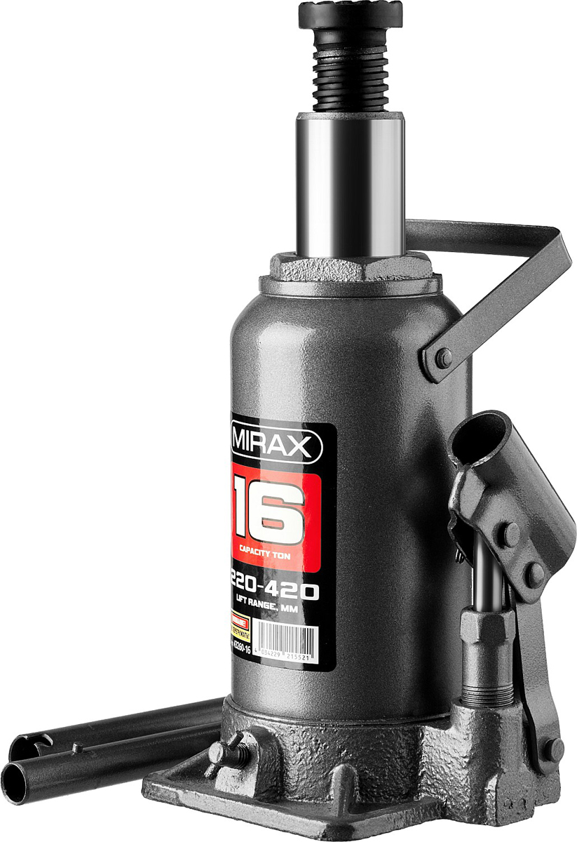 Домкрат Mirax, гидравлический бутылочный, 16 т, высота подъема 22-42 см43260-16Гидравлический бутылочный домкрат Mirax применяется при проведении ремонтно-строительных работ. Часто используется для обслуживания автомобилей или при работах связанных с ремонтом фундаментов. Компактный. Высокая грузоподъемность.
