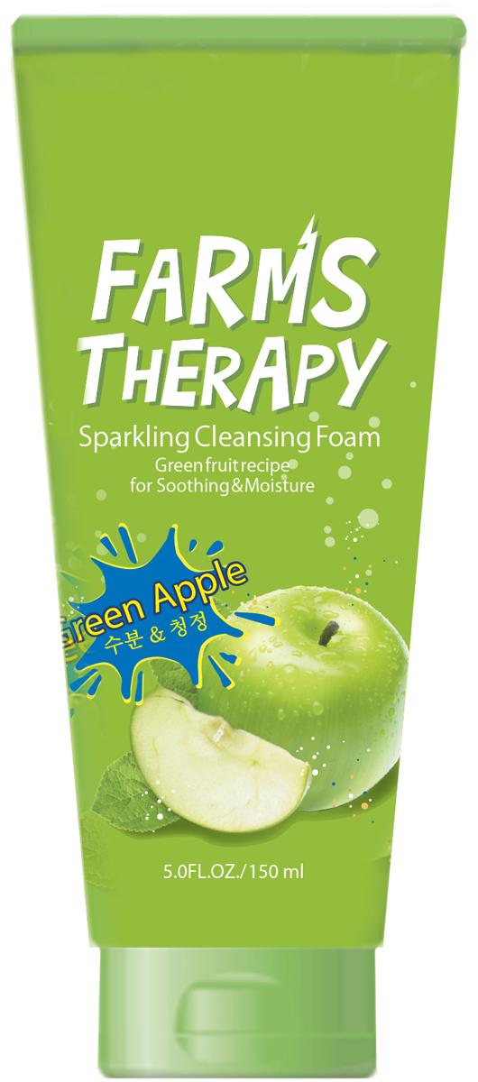 Farms Therapy Очищающая пенка для ровной и упругой кожи Зеленое яблоко, 150 мл159увлажнение и очищение!Тонизирующий аромат свежеразрезанного зеленого яблока. На основе минеральной воды.ЗЕЛЕНОЕ ЯБЛОКО + АВОКАДО + КИВИ + ЗЕЛЕНЫЙ ВИНОГРАДНежнейшая формула пенки с натуральными экстрактами зеленых фруктов нежно очищает кожу от макияжа и лишнего жира, не пересушивая ее. Эффективно очищает поры, нормализует кожное дыхание, препятствует обезвоживанию эпидермиса, улучшает цвет лица, придает коже здоровый вид. После использования пенки для умывания остается приятное ощущение чистоты и свежести кожи. Зеленое яблоко поможет сохранить красоту и продлить молодость кожи, обеспечит антиоксидантный эффект и будет надежно оберегать от внешних воздействий окружающей среды. Авокадо, киви и виноград окажут регенерирующее, успокаивающее и увлажняющее действие, восстановят упругость и поддержат тонус. Минеральная вода Chojeong-ri природной газации, входящая в тройку мировых лидеров среди минеральных источников, наполнит клетки живительной влагой и ценными веществами, улучшит их работу и будет способствовать обновлению. Лайм и масло тимьяна насытят энергией уставшую кожу, прекрасно увлажнят, защитят ее от пересушивания и подарят ощущения нежности и комфорта!Потрясающий аромат зеленого яблока поможет избавиться от усталости, снять стресс и подарит Вам хорошее настроение! Пенка подходит для всех типов кожи, особенно рекомендована для сухой и чувствительной.