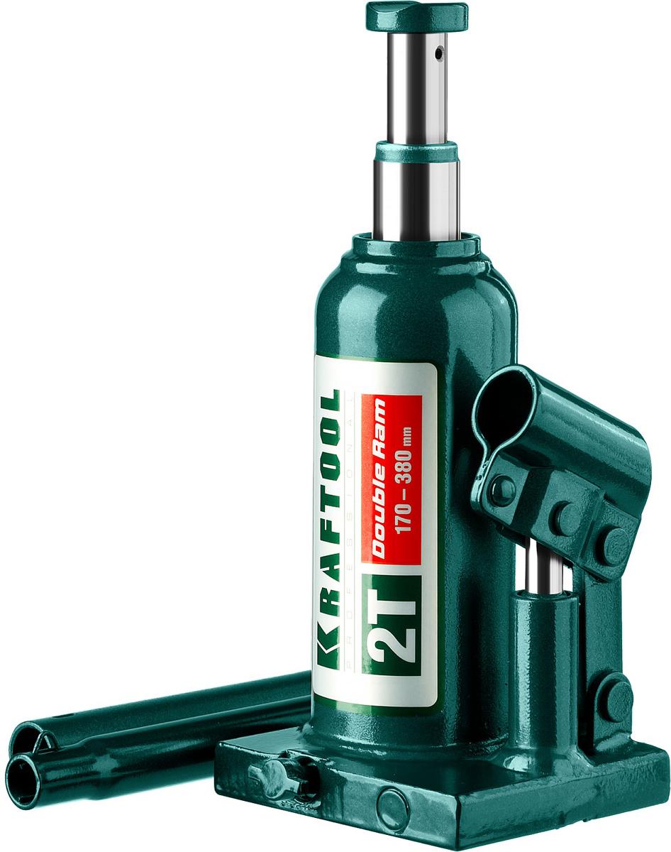 Домкрат Kraftool Double Ram, гидравлический бутылочный, телескопический, 2 т, высота подъема 17-38 см43463-2Гидравлический бутылочный домкрат Kraftool Kraft-Lift предназначен для профессионального применения в строительстве. Сварная конструкция надежно защищает домкрат от протечек масла, ввиду отсутствия резьбовых соединений, что обеспечивает высокий срок службы домкрата. Компактность, небольшой вес и высокая грузоподъемность позволяет использовать домкрат при проведении ремонтно-строительных работ. Часто используется для обслуживания автомобилей или при работах связанных с ремонтом фундаментов.Особенности: Сварная конструкция. Телескопический шток поднимает груз на большую высоту.Компактность. Высокая грузоподъемность.Не требует дополнительных приспособлений при использовании.