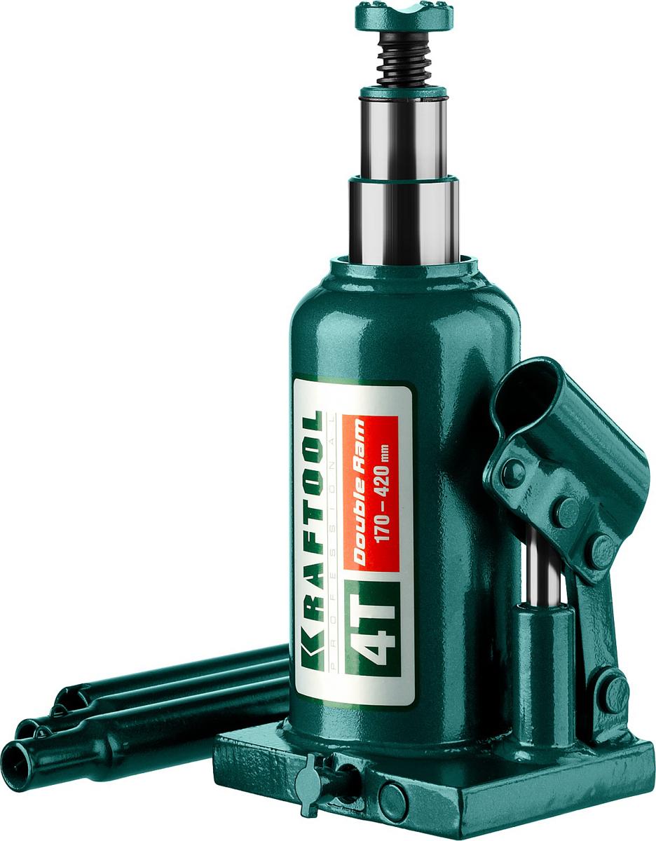 Домкрат Kraftool Double Ram, гидравлический бутылочный, телескопический, 4 т, высота подъема 17-42 см43463-4Домкрат гидравлический бутылочный Kraftool 43463-4, предназначен для профессионального применения в строительстве. Сварная конструкция надежно защищает домкрат от протечек масла, ввиду отсутствия резьбовых соединений, что обеспечивает высокий срок службы домкрата. Компактность, небольшой вес и высокая грузоподъемность позволяет использовать домкрат при проведении ремонтно-строительных работ. Часто используется для обслуживания автомобилей или при работах связанных с ремонтом фундаментов. Сварная конструкция. Телескопический шток поднимает груз на большую высоту. Компактность. Высокая грузоподъемность. Не требует дополнительных приспособлений при использовании.