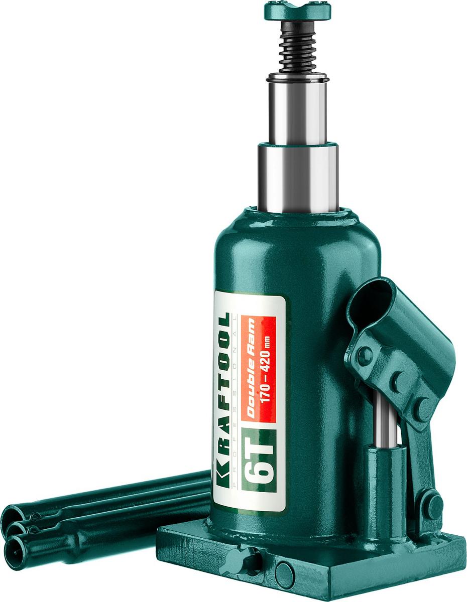 Домкрат Kraftool Double Ram, гидравлический бутылочный, телескопический, 6 т, высота подъема 17-42 см43463-6Домкрат гидравлический бутылочный Kraftool 43463-6, предназначен для профессионального применения в строительстве. Сварная конструкция надежно защищает домкрат от протечек масла, ввиду отсутствия резьбовых соединений, что обеспечивает высокий срок службы домкрата. Компактность, небольшой вес и высокая грузоподъемность позволяет использовать домкрат при проведении ремонтно-строительных работ. Часто используется для обслуживания автомобилей или при работах связанных с ремонтом фундаментов. Сварная конструкция. Телескопический шток поднимает груз на большую высоту. Компактность. Высокая грузоподъемность. Не требует дополнительных приспособлений при использовании.