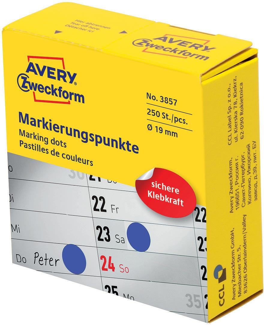 Avery Zweckform Этикетки-точки самоклеящиеся в диспенсере цвет синий 250 шт avery zweckform этикетки для дома living 47 5 х 35 мм цвет желтый