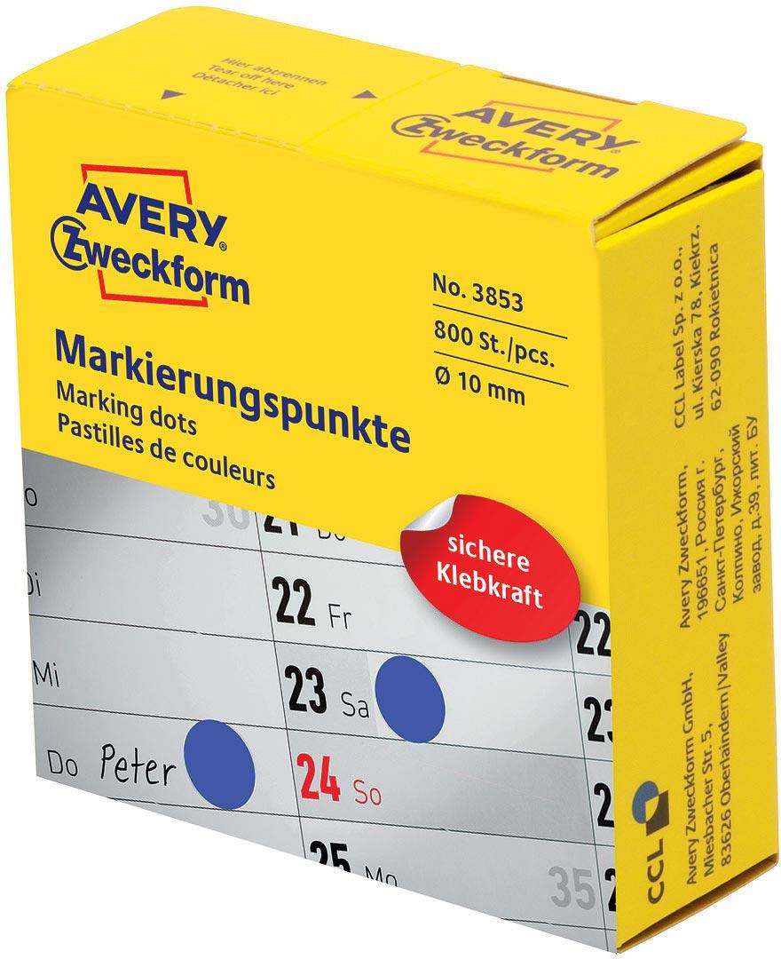 Avery Zweckform Этикетки-точки самоклеящиеся в диспенсере цвет: синий диаметр 1 см 800 шт 3853 упаковочные этикетки 500 5