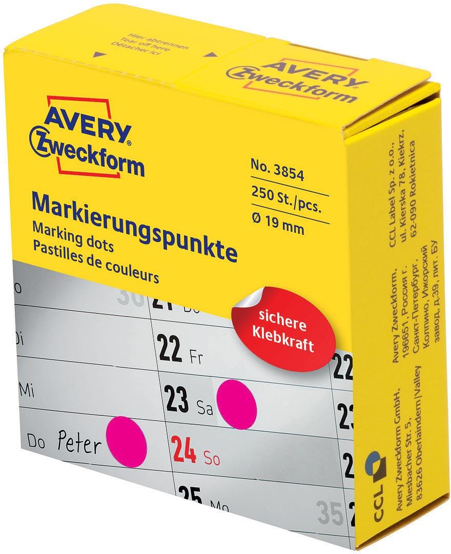 Avery Zweckform Этикетки-точки самоклеящиеся в диспенсере цвет фуксия 250 шт упаковочные этикетки 500 5