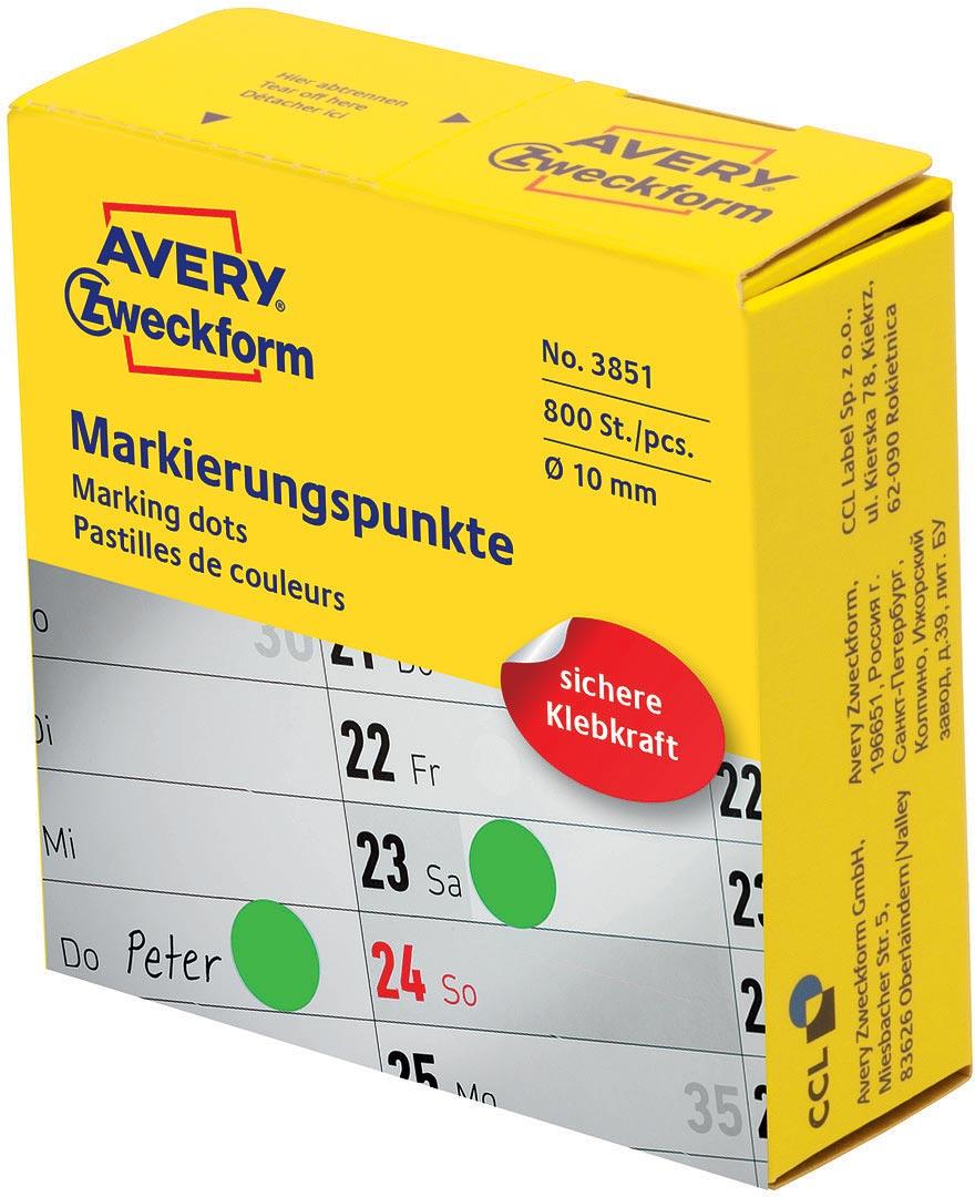 Avery Zweckform Этикетки-точки самоклеящиеся в диспенсере цвет зеленый диаметр 10 мм 800 шт упаковочные этикетки 500 5