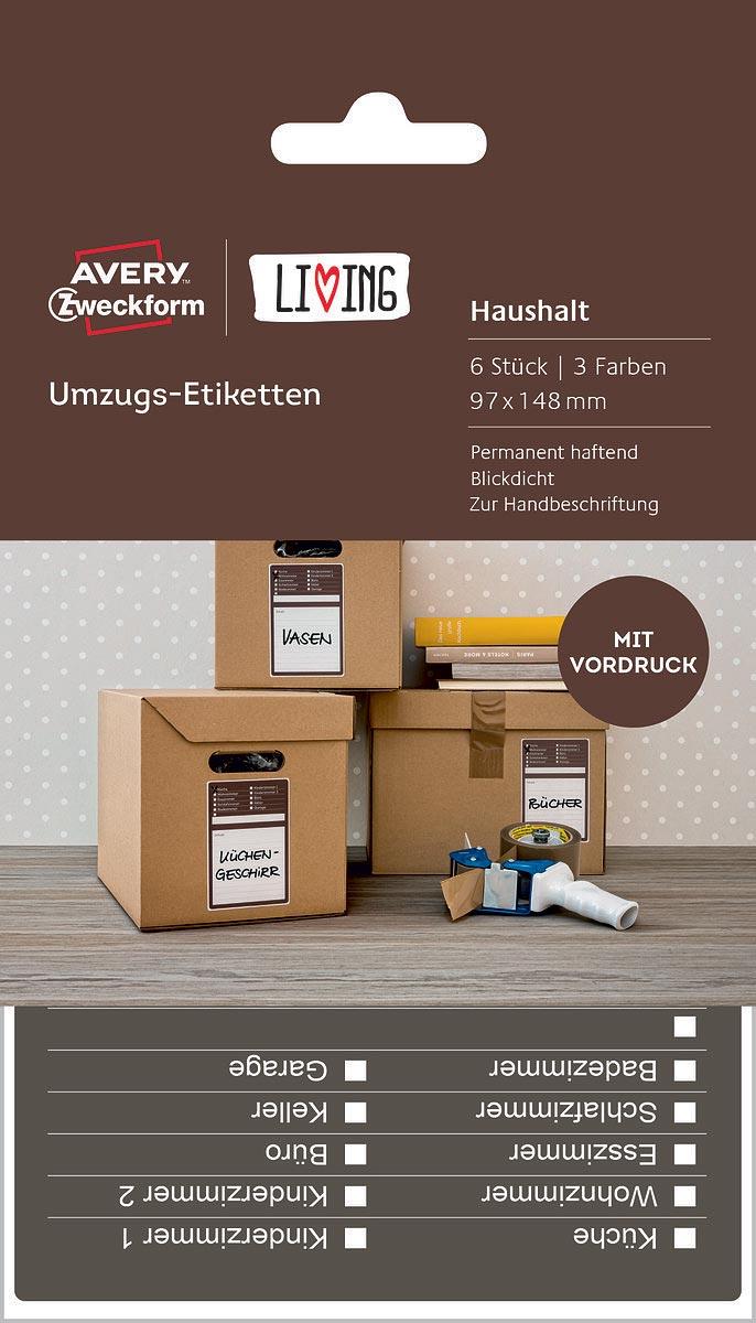Avery Zweckform Этикетки самоклеящиеся для коробок и переезда Living 97 х 148 мм 6 шт