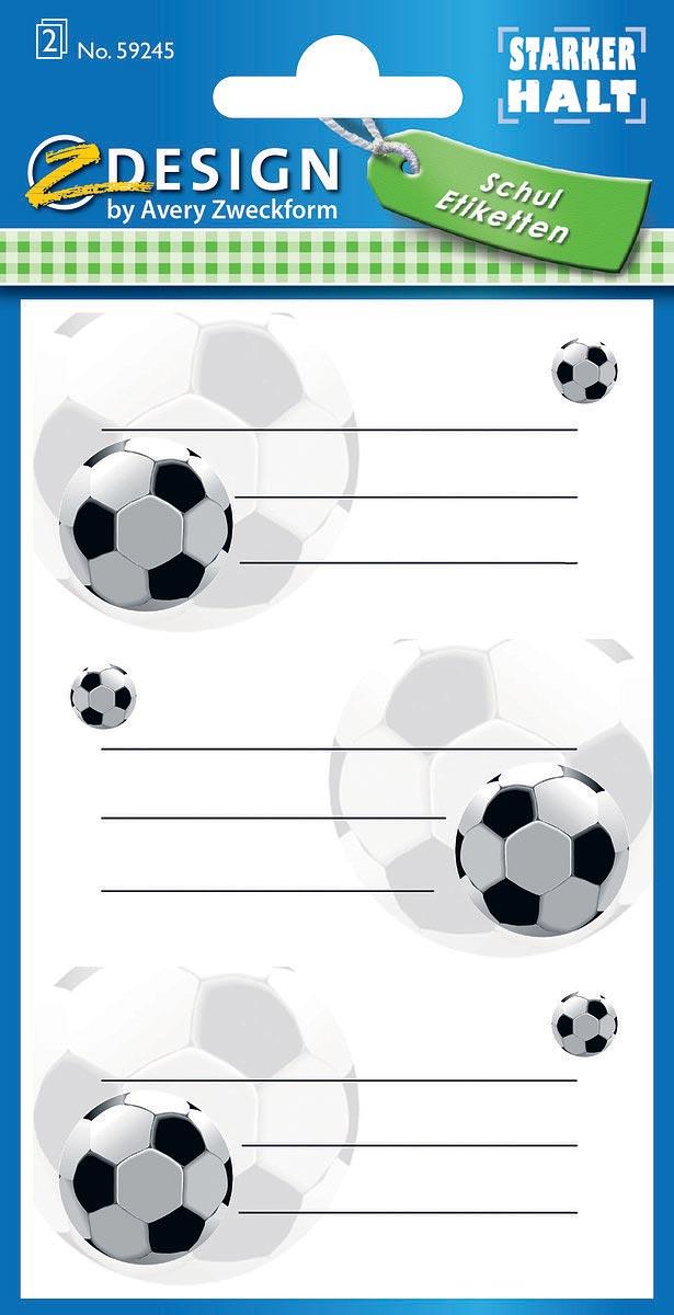 """Специальная серия самоклеящихся этикеток """"Z-Design"""" от Avery Zweckform вдохновляет и дома, и  в школе, и в офисе! Яркие цвета, качественная бумага, необычный дизайн не оставят  равнодушными всех любителей самоклеящихся стикеров. Наклейки """"Футбол"""" из школьной серии  идеальны для персонализации тетрадей, записных книжек и прочих бумажных носителей  информации. Три строки для вашего имени и дополнительной информации с изображениями  футбольных мячей заставят улыбнуться и поднимут настроение! Удобная упаковка с подвесом, 2  листа, 6 этикеток в упаковке."""