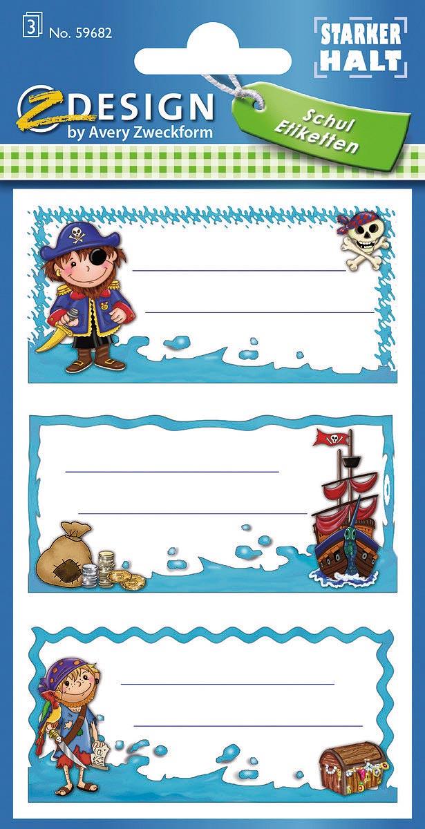 """Специальная серия самоклеящихся этикеток """"Z-Design"""" от Avery Zweckform вдохновляет и дома, и  в школе, и в офисе! Яркие цвета, качественная бумага, необычный дизайн не оставят  равнодушными всех любителей самоклеящихся стикеров. Наклейки """"Пираты"""" из школьной серии  идеальны для персонализации тетрадей, записных книжек и прочих бумажных носителей  информации. Три строки для вашего имени и дополнительной информации с изображениями  пиратов заставят улыбнуться и поднимут настроение! Удобная упаковка с подвесом, 3 листа, 9  этикеток в упаковке."""