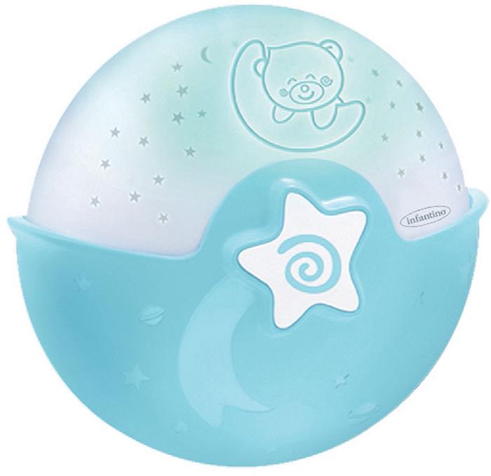 Infantino Ночник-проектор цвет голубой4627Ночник-проектор от компании Infantino станет неизменным спутником на пути к сновидениям для вашего ребенка в первый год его жизни. С рождения и до 6 месяцев устройство можно использовать в виде подвесного ночника на детскую кроватку. Имеется звуковой сенсор, с его помощью ночник улавливает шум в кроватке малыша. И если ребенок проснулся, устройство автоматически включит успокаивающий голубой свет и заиграет убаюкивающая мелодия. Через 10 минут ночник также автоматически выключится. Всего в арсенале устройства 6 различных мелодий и 3 варианта звуков живой природы. Вы можете регулировать громкость музыки или отключить ее совсем, оставив только подсветку. Работает он всего от одной кнопки. Поэтому разобраться в его устройстве сможет любой.Когда ребенку исполнится полгода, ночник можно трансформировать в проектор, который будет показывать ему разноцветные звездочки. С полутора лет и до тех пор, пока не надоест устройство можно использовать, как настольный ночник. Цвет корпуса ночника голубой. Вес 440 грамм.Ночник работает от трех батареек типа АА. Они включены в набор. Рекомендуется для детей в возрасте до 3 лет. Хотя ночник может понравиться малышам старшего возраста.