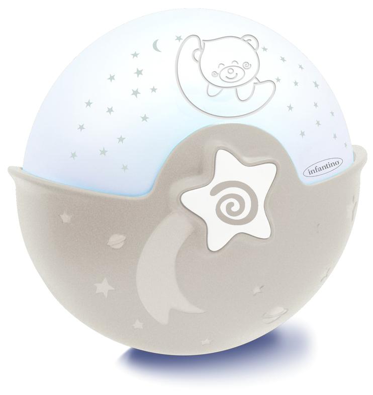 Infantino Ночник-проектор цвет серо-бежевый4909Ночник-проектор от компании Infantino станет неизменным спутником на пути к сновидениям для вашего ребенка в первый год его жизни. С рождения и до 6 месяцев устройство можно использовать в виде подвесного ночника на детскую кроватку. Имеется звуковой сенсор, с его помощью ночник улавливает шум в кроватке малыша. И если ребенок проснулся, устройство автоматически включит успокаивающий голубой свет и заиграет убаюкивающая мелодия. Через 10 минут ночник также автоматически выключится. Всего в арсенале устройства 6 различных мелодий и 3 варианта звуков живой природы. Вы можете регулировать громкость музыки или отключить ее совсем, оставив только подсветку. Работает он всего от одной кнопки. Поэтому разобраться в его устройстве сможет любой.Когда ребенку исполнится полгода, ночник можно трансформировать в проектор, который будет показывать ему разноцветные звездочки. С полутора лет и до тех пор, пока не надоест устройство можно использовать, как настольный ночник. Цвет корпуса ночника серо-бежевый. Вес 440 грамм.Ночник работает от трех батареек типа АА. Элементы питания входят в комплект. Рекомендуется для детей в возрасте до 3 лет. Хотя ночник может понравиться малышам старшего возраста.