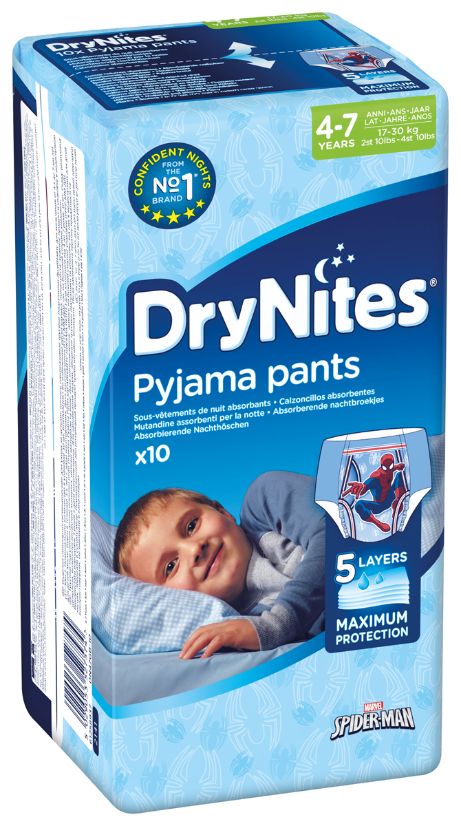 Huggies Подгузники-трусики для мальчиков DryNites 4-7 лет 17-30 кг 10 шт huggies трусики подгузники huggies 5 для мальчиков mega pack 13 17 кг 48 шт