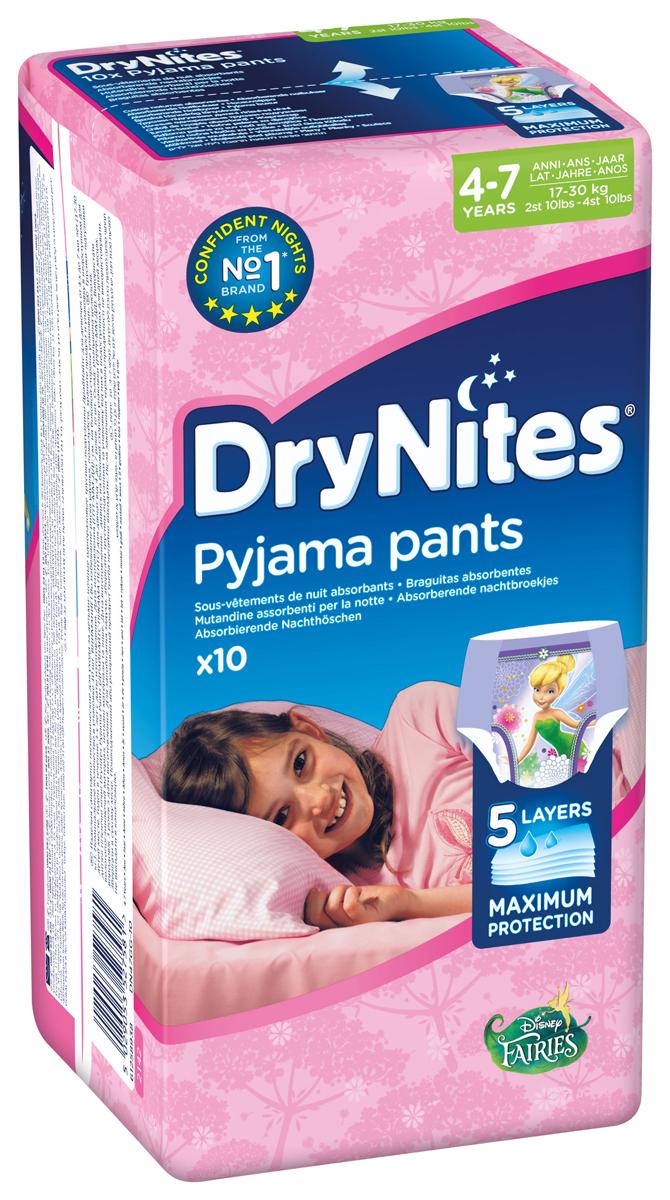 Huggies Подгузники-трусики для девочек DryNites 4-7 лет 10 шт