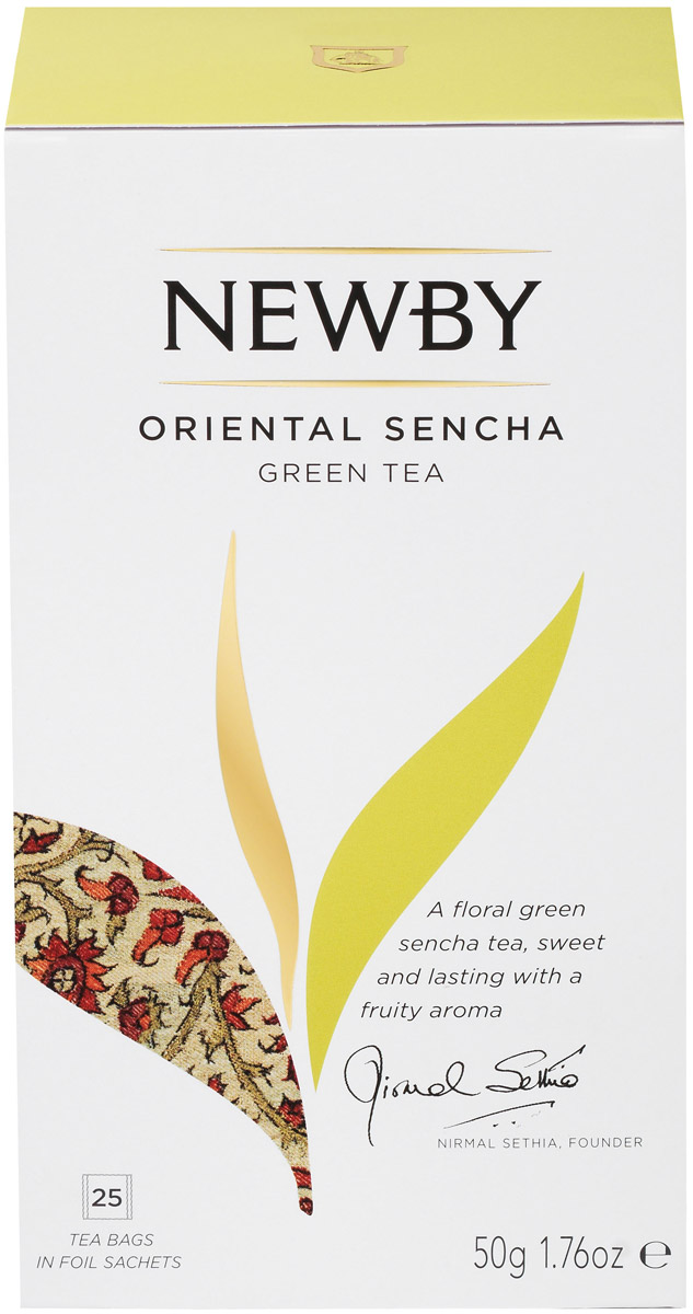 Newby Oriental Sencha зеленый чай с лепестками цветов в пакетиках, 25 шт310170Newby Oriental Sencha - элитный зеленый чай с отборными лепестками цветов. Красивый цвет настоя приятен для глаз, а изысканные фруктово-цветочные ароматы стали прекрасным дополнением рисового вкуса чая Сенча.Уважаемые клиенты! Обращаем ваше внимание на то, что упаковка может иметь несколько видов дизайна. Поставка осуществляется в зависимости от наличия на складе.Всё о чае: сорта, факты, советы по выбору и употреблению. Статья OZON Гид