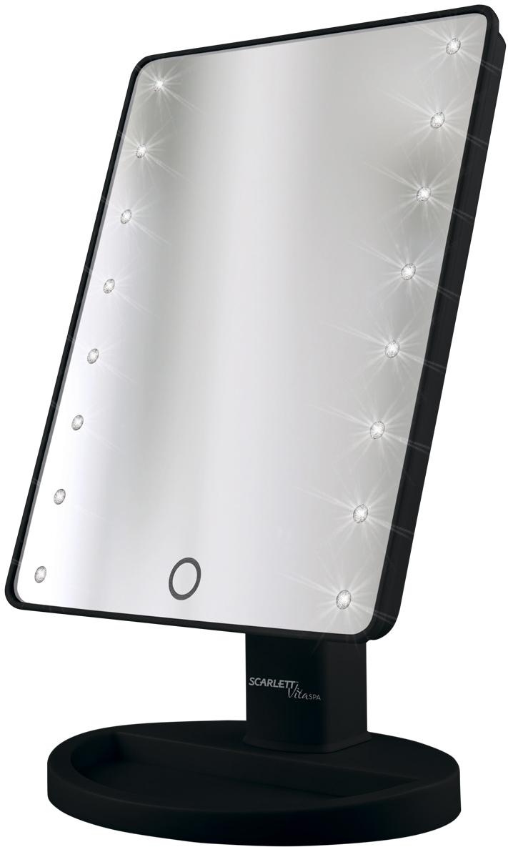 Scarlett SC-MM308L05, Black зеркало косметическоеSC-MM308L0516 светодиодов Плавное переключение подсветки - для более четкого отражения без теней Кнопка включения/выключения Подставка для хранения аксессуаров - необходимые мелочи всегда под рукой Изменение горизонтального угла поворота – 180°, идеальный макияж с любого ракурса Питание от 4-х батареек АА 1,5V (не включены в комплект)