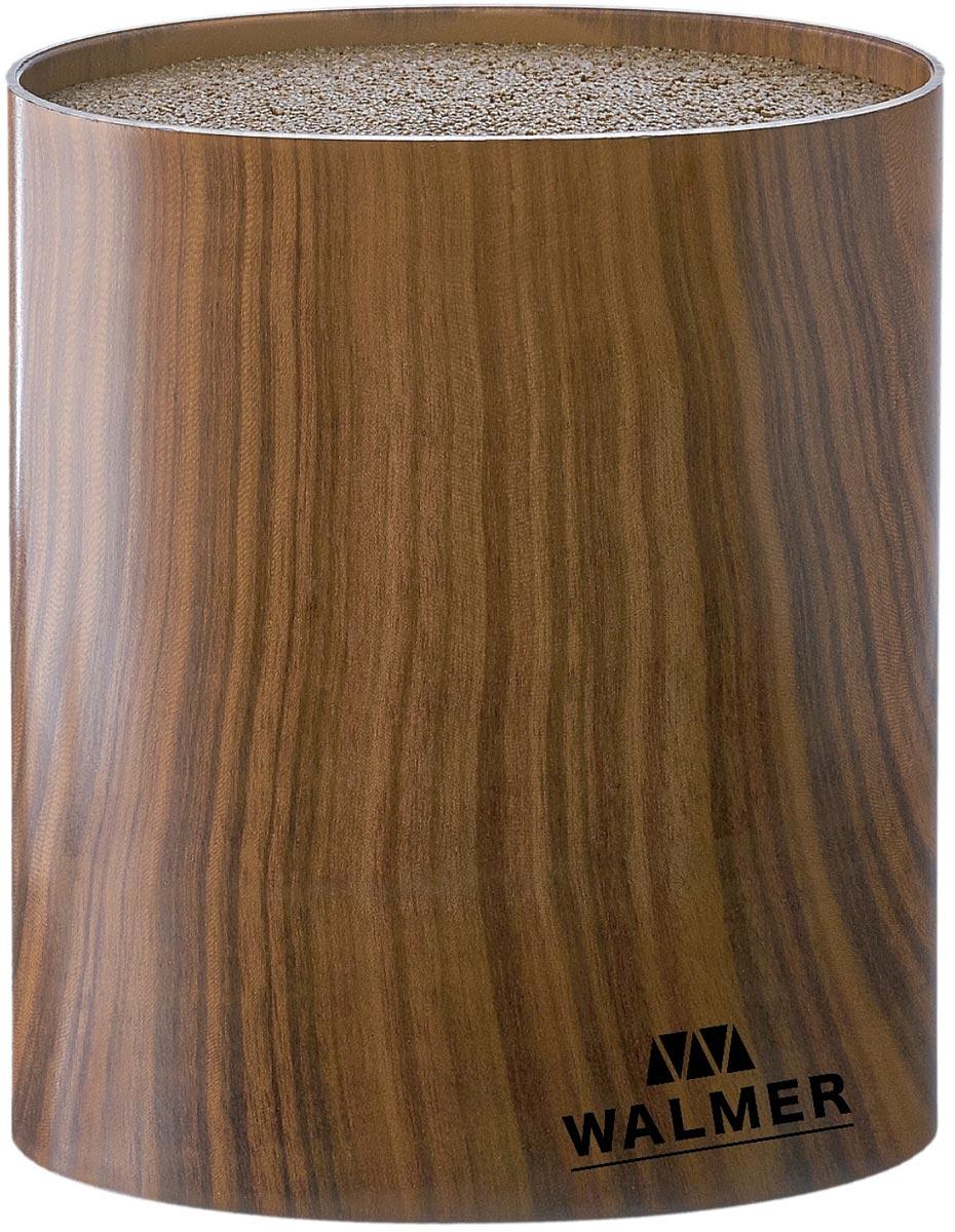 Подставка для ножей Walmer Wood, цвет: коричневый, 16 x 7 x 16 смW08002203Цилиндрическая подставка для ножей Walmer имеет компактные размеры — это преимущество подставок бренда. Они вместительны, но места на столешнице занимают очень мало, легко вписываясь в любую геометрию кухонного пространства. У подставок нескользящая поверхность: она не съедет даже с влажного стола, не потянется вслед за плотно сидящим в ней ножом и не выскользнет из рук. Уход за подставками минимален: ручное ополаскивание с гигиенической целью, поскольку для их изготовления использовались грязе- и жироотталкивающая пластмасса и нержавеющая сталь.