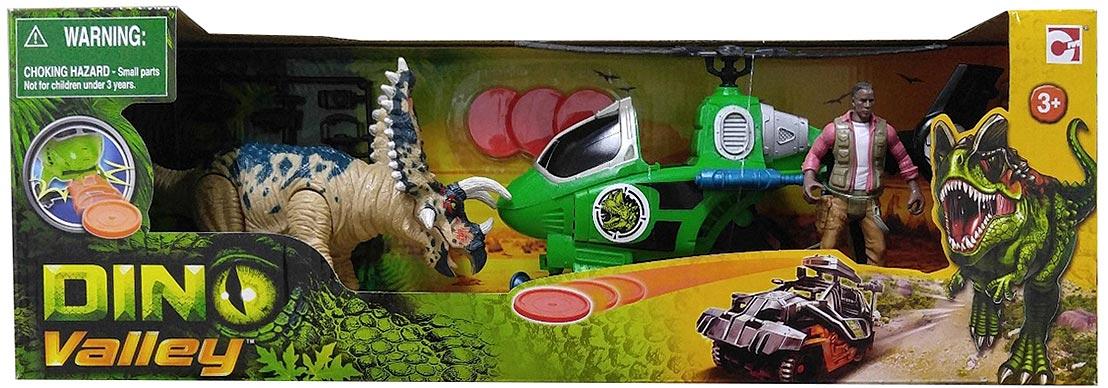 Chap Mei Игровой набор Динозавр Трицератопс и охотник на вертолете игровые наборы chap mei игровой набор динозавр трицератопс и охотник на вертолете стрельба