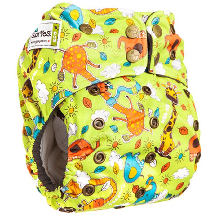 GlorYes! Многоразовый подгузник Premium Жирафы 3-18 кг + два вкладыша -  Подгузники и пеленки