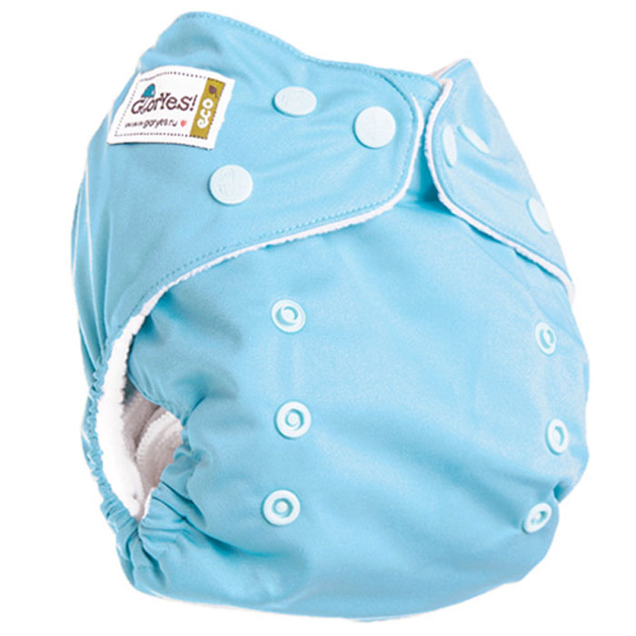 GlorYes! Многоразовый подгузник Classic 3-15 кг + один вкладыш цвет голубой нагрудник gloryes цветы