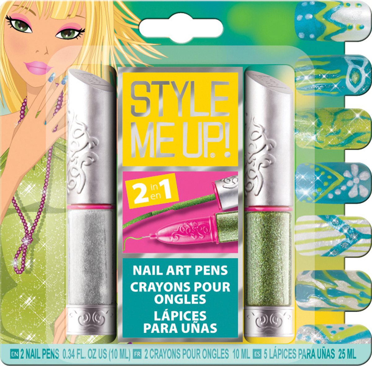 Style Me UpНабор для творчества Блестящий маникюр цвет серебристый зеленый Style Me Up
