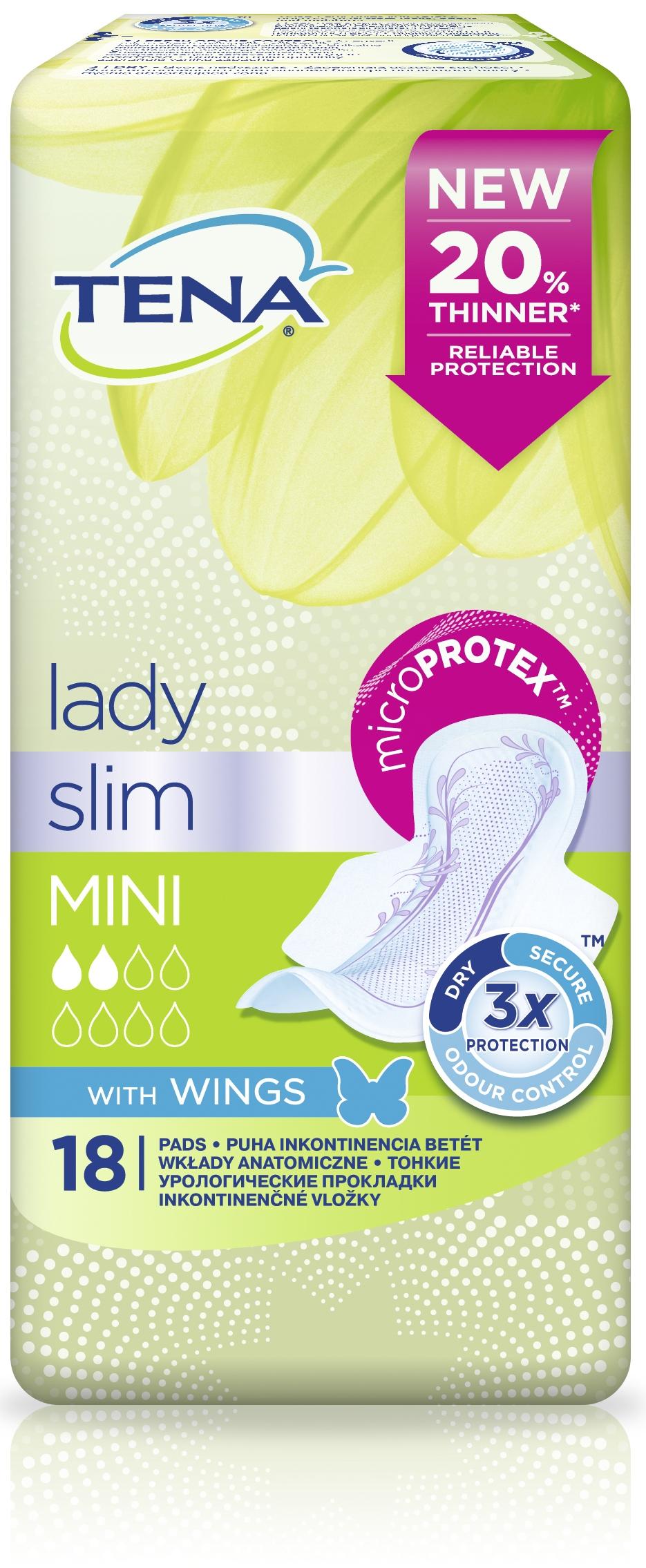 Tena Прокладки урологические Lady Mini Wings 18 шт01.00.15.762230Урологические прокладки Tena Lady обеспечивают тройную защиту от протеканий, влаги и запаха. Tena Lady MiniWings с крылышками и технологией DRYZone (Драй зона) такие же по размеру, как обычные прокладки для критических дней, но созданы специально для защиты при капельном и легком недержании. Зона интенсивного впитывания DRYZone быстро поглощает влагу, обеспечивая комфорт и сухость в течение всего дня. Прокладки Tena Lady Mini удерживают влагу и остаются сухими даже при надавливании.Система Fresh Odour Control предотвращает развитие нежелательного запаха.Дерматологически протестированы.Каждая прокладка индивидуально упакована, ее удобно брать с собой и можно выбросить, свернув в индивидуальную упаковку.