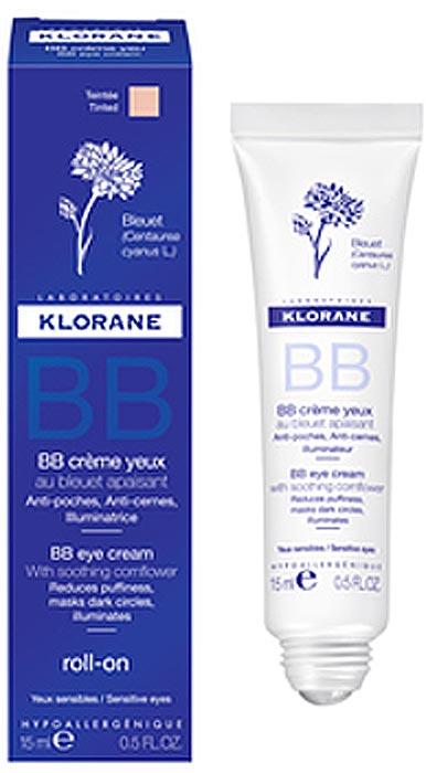 Klorane Роликовый BB-крем вокруг глаз, 15 млC55811Формула Klorane BB Creme yeux обогащена экстрактом василька, калины и кофеина, для улучшения маскирующего ухода добавлены светоотражающие пигменты. Удобный роликовый аппликатор сделает уход за контуром глаз более комфортным и эффективным. Кожа выглядит свежей и отдохнувшей. Средство одобрено дерматологами и офтальмологами, подходит для чувствительной кожи и для лиц, использующих контактные линзы.