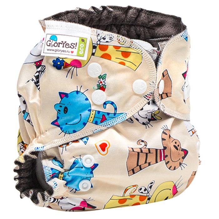 GlorYes! Многоразовый подгузник Optima Коты на бежевом 3-18 кг + два вкладыша -  Подгузники и пеленки