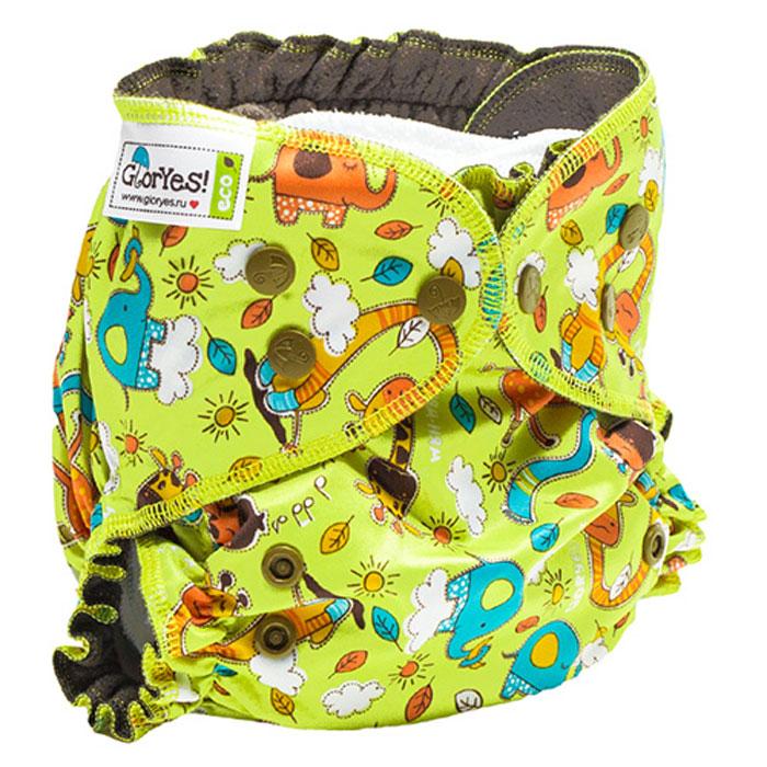GlorYes! Многоразовый подгузник Optima Жирафы 3-18 кг + два вкладыша