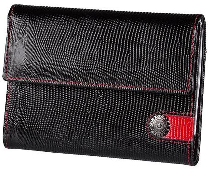 Обложка для автодокументов женская Dimanche Panthere Noire, цвет: черный. 471471Бумажник водителя выполнен из натуральной кожи. Закрывается клапаном на кнопку. Внутри пять карманов для визиток/кредиток и два вертикальных кармана. Пластиковый блок для автодокументов. На задней стенке дополнительный карман.